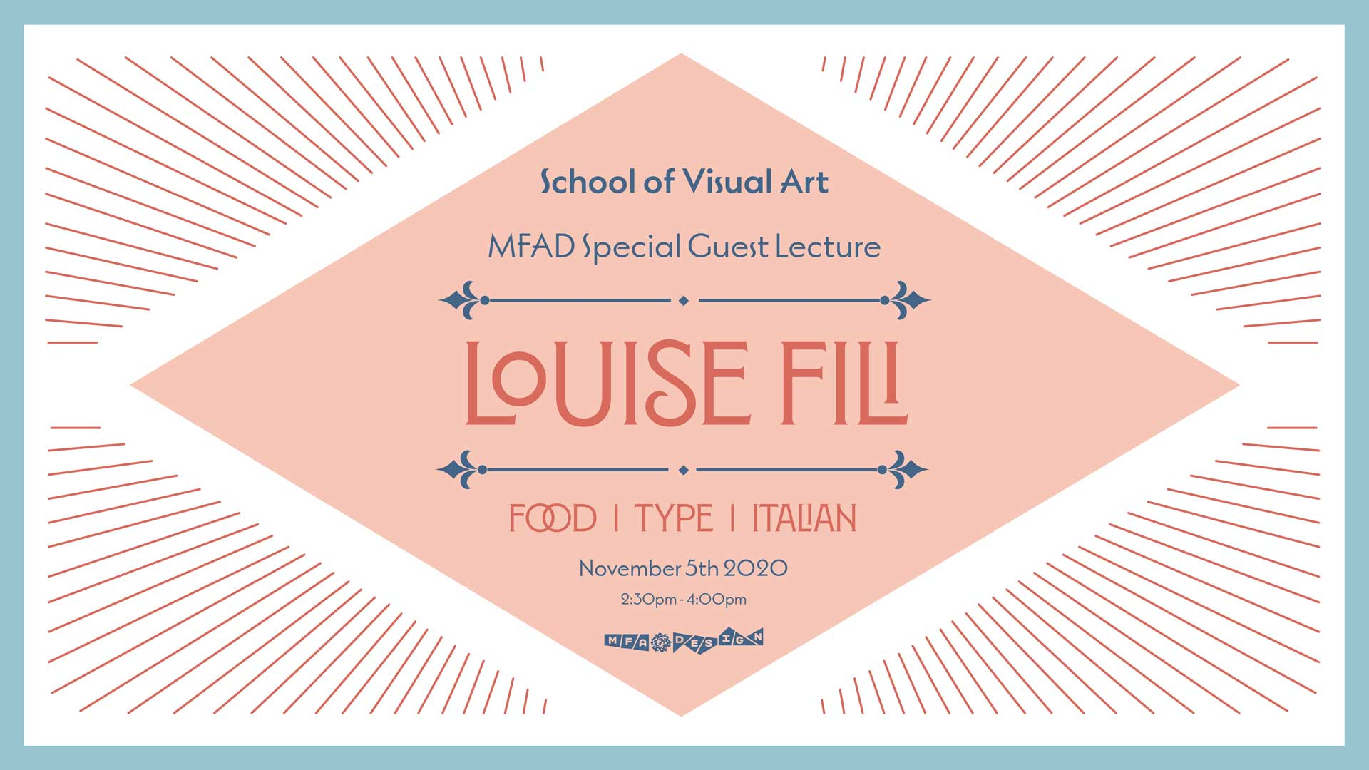 poster for Louise fili lecture at SVA