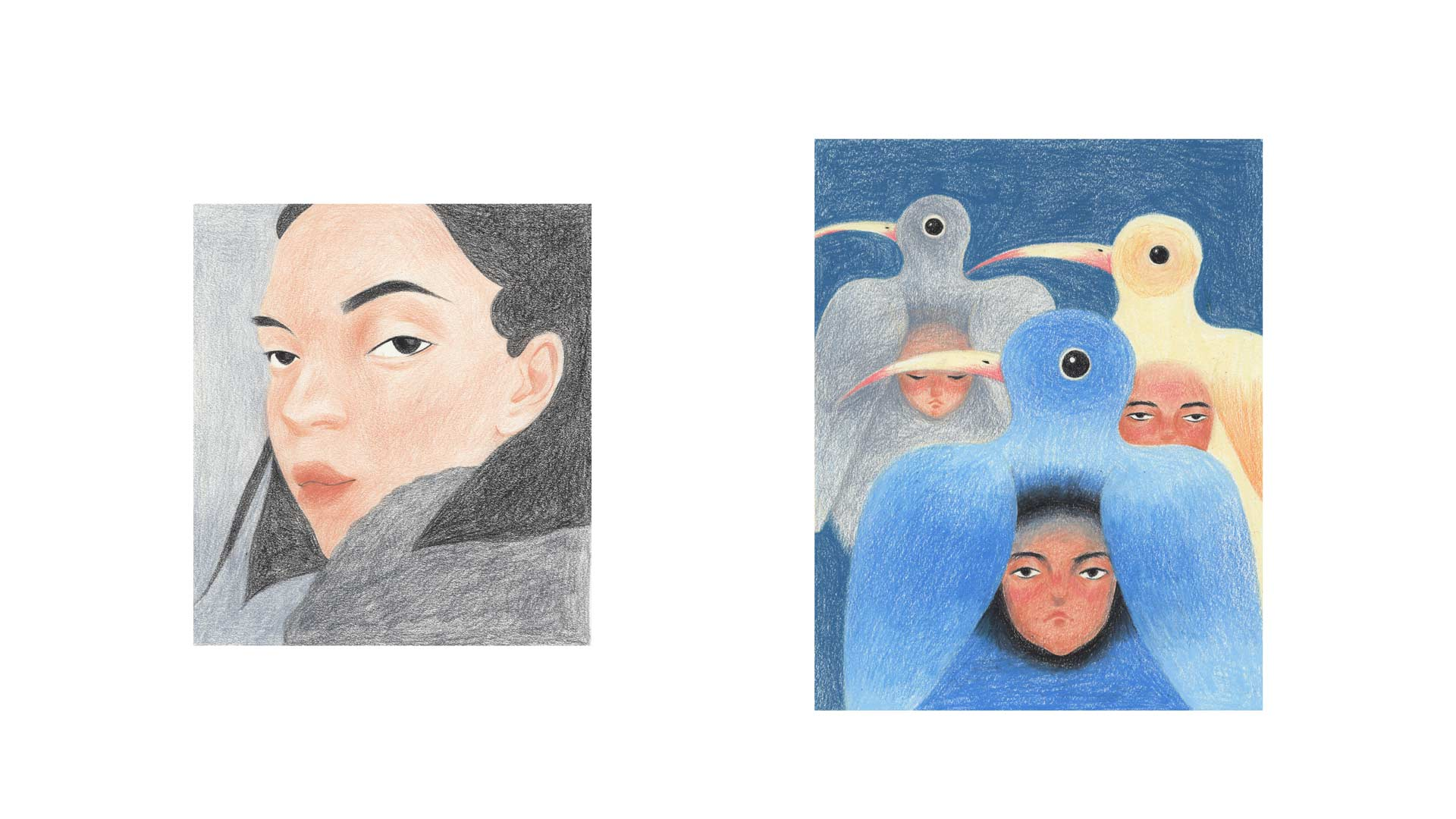 illustrations by Jiayue Li faces and birds on blue background
