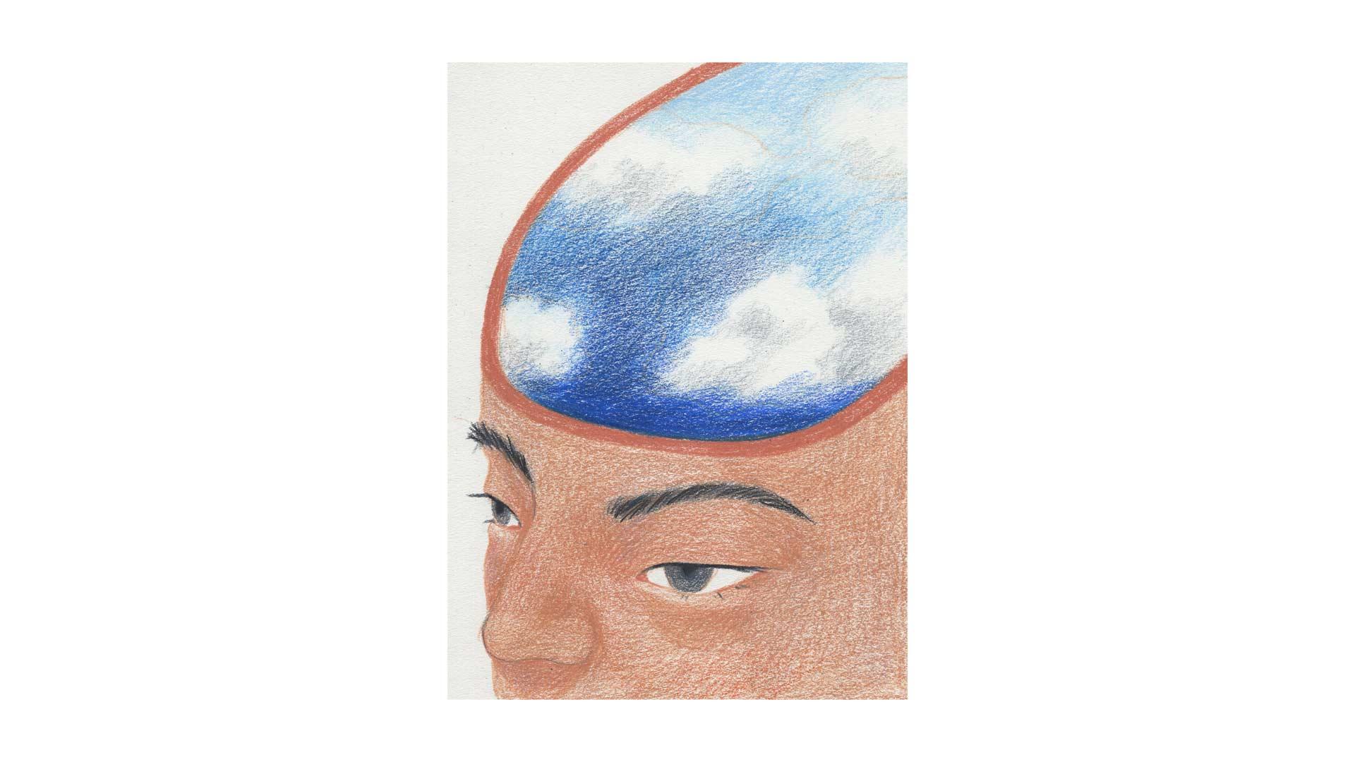 illustration by Jiayue Li human head with sky inside head