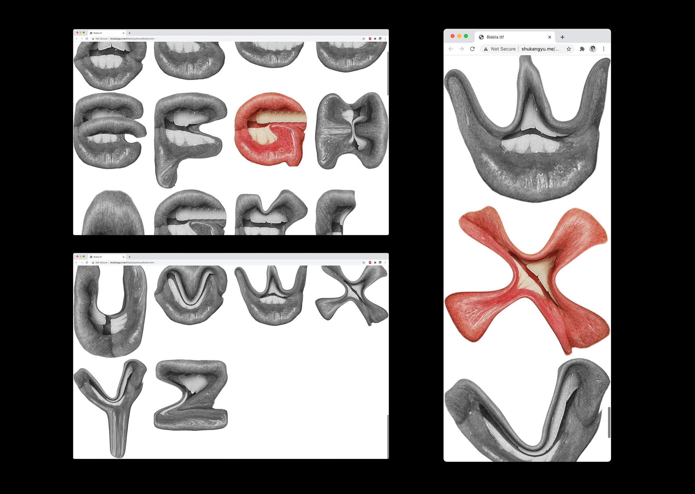 Blahblah typeface on web