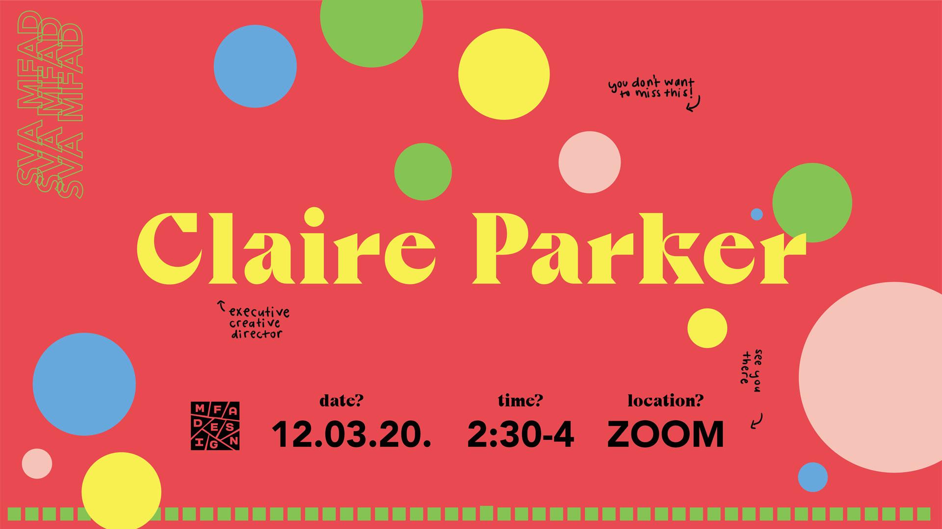 Claire Parker of design bridge guest lecture poster