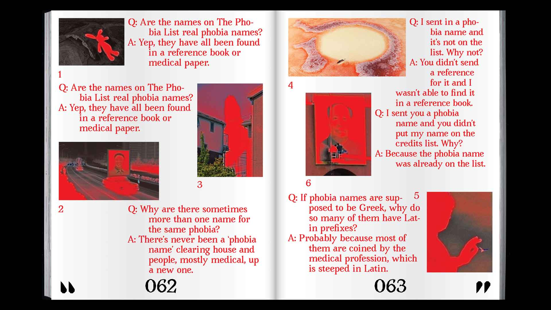 magazine layout with red type