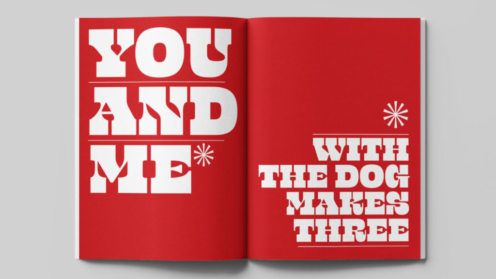 zra Lee magazine design - You and me with dog make three