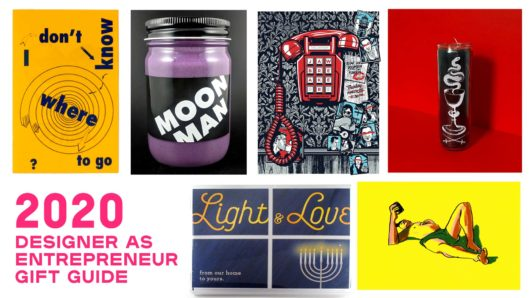 designer as entrepreneur gift guide with product shots of candle, prints book and jar