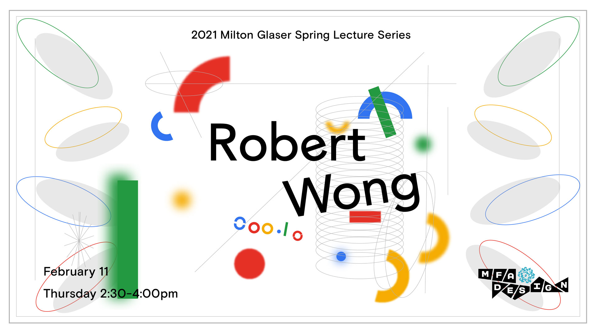 Robert Wong Poster by Sue Young Kim colorful springs and shapes in primary colors