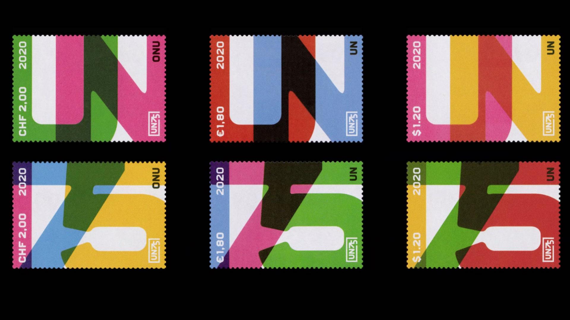 6 colorful UN stamps