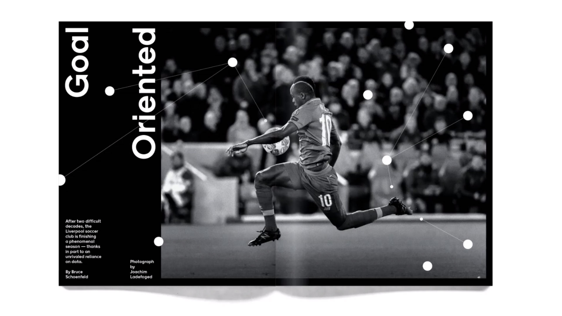 magazine spread man playing soccer with goal oriented text