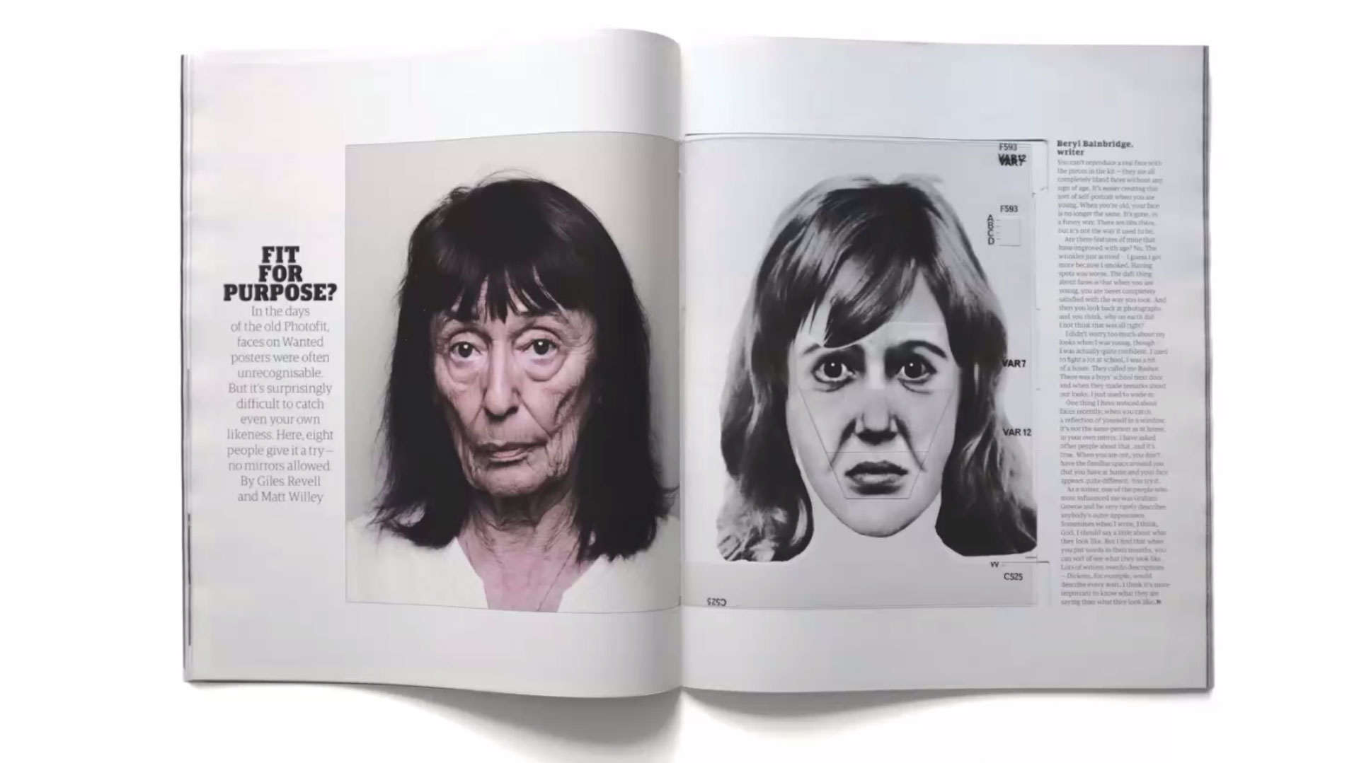 photo of woman with dark hair and a police sketch magazine spread