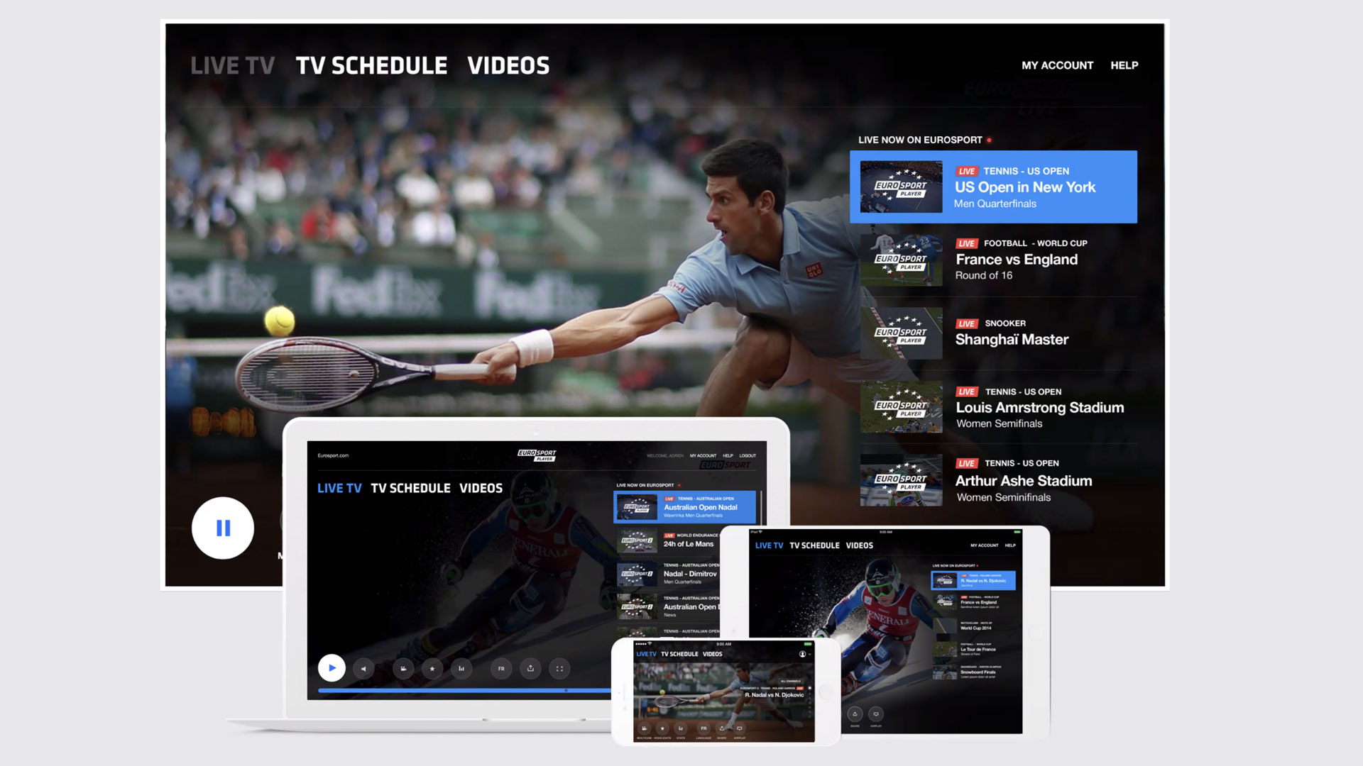 website homepage for Live TV