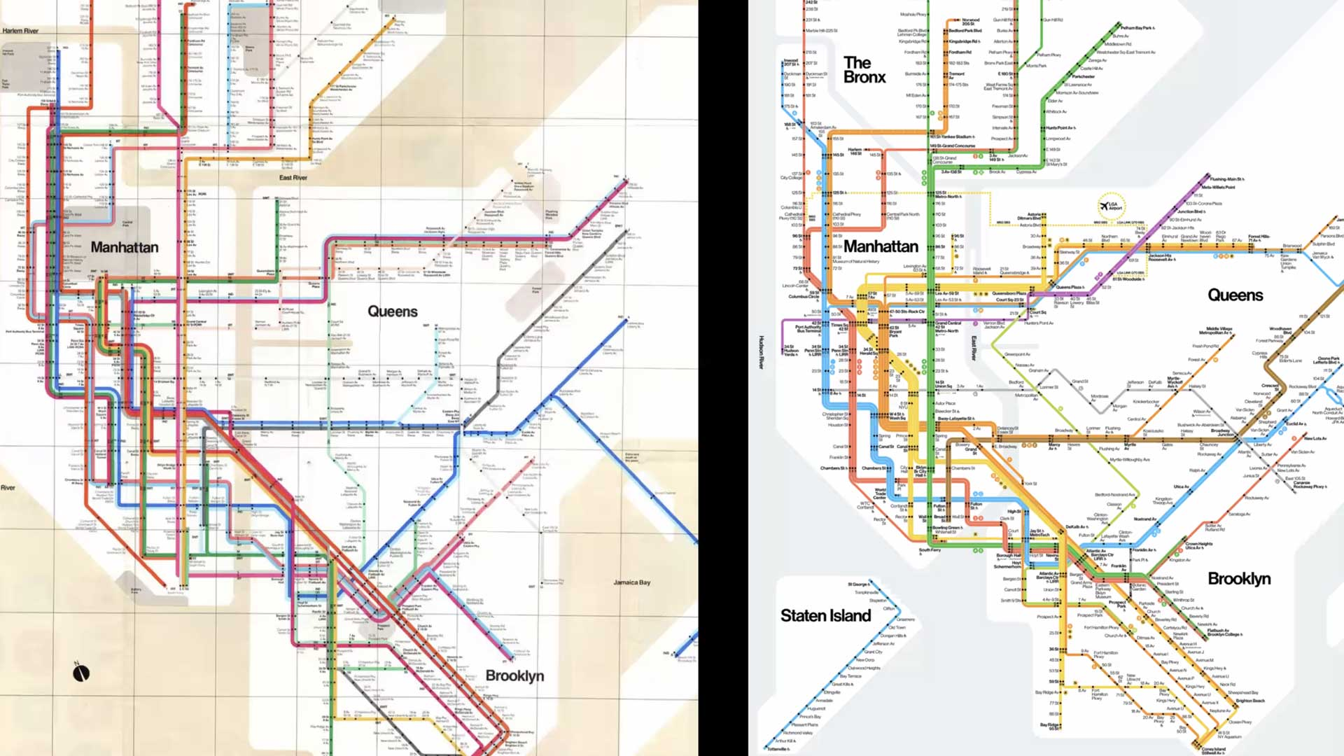 two NYC subway maps