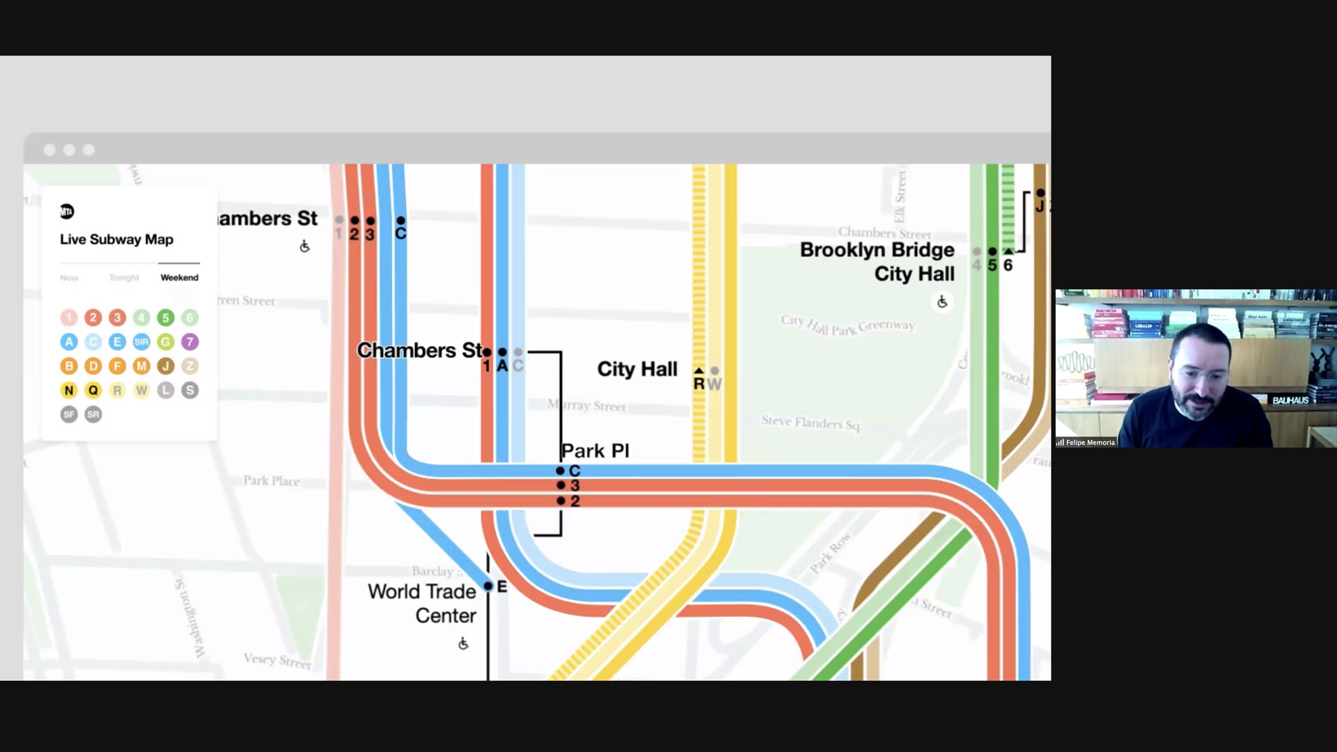 Felipe Memoria and a portion of the NYC subway map