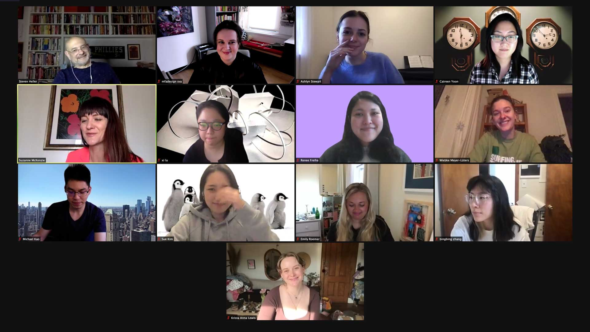 screen shot of zoom call with students and Suzanne Mckenzie