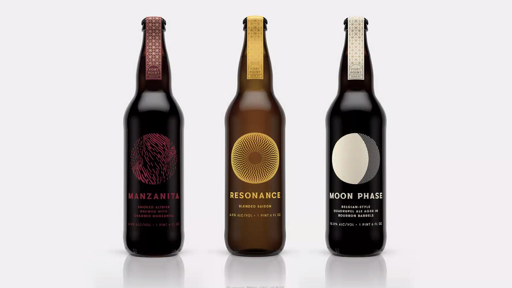 three brown bottles of beer against a white background