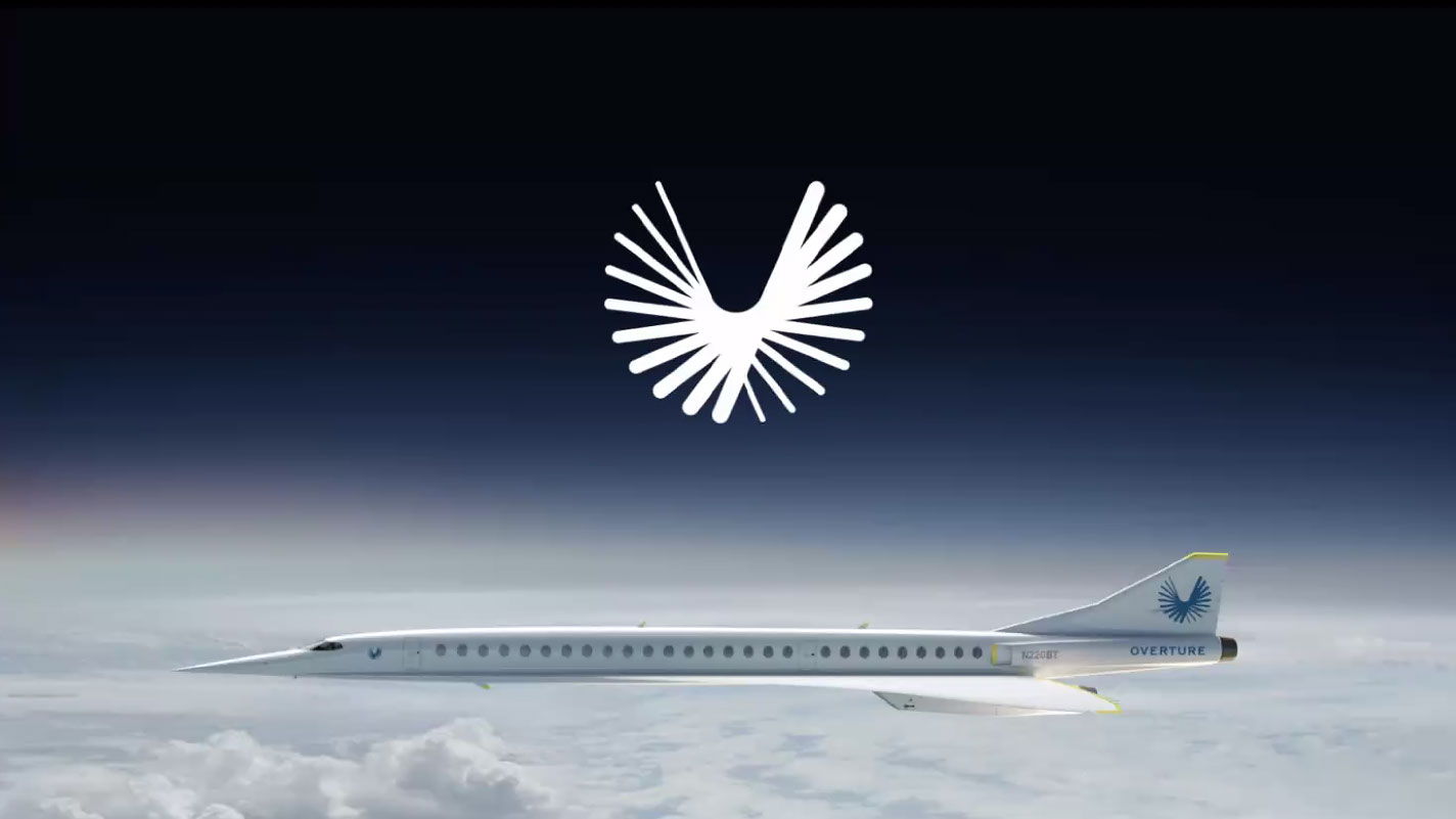 super sonic jet flying over clouds with logo