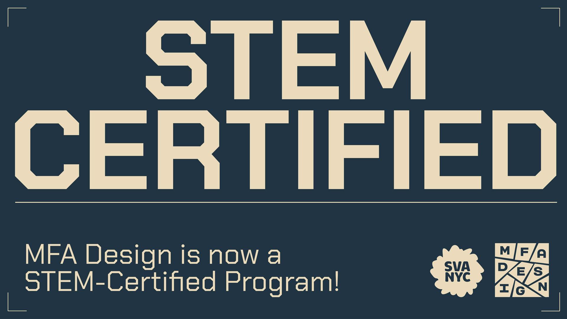 SVA MFA Design is STEM certified