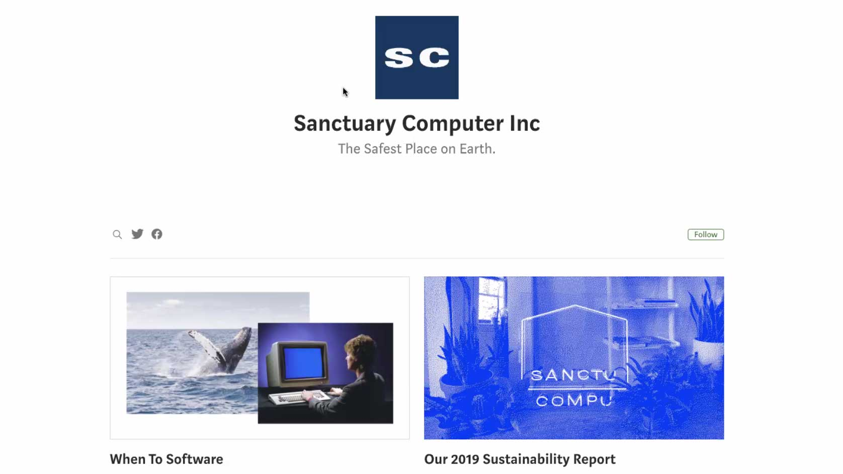 images from sanctuary computer website a whale in the sea a person using a computerseen from behind and the sanctuary computer logo overlayed on a blue duotone photo of a room with many plants