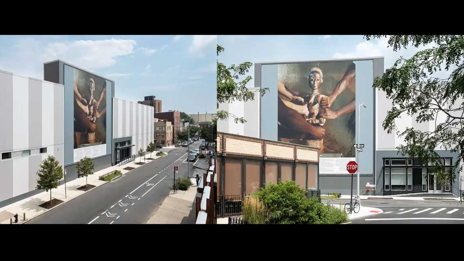 photo of an African idol as poster on buildings