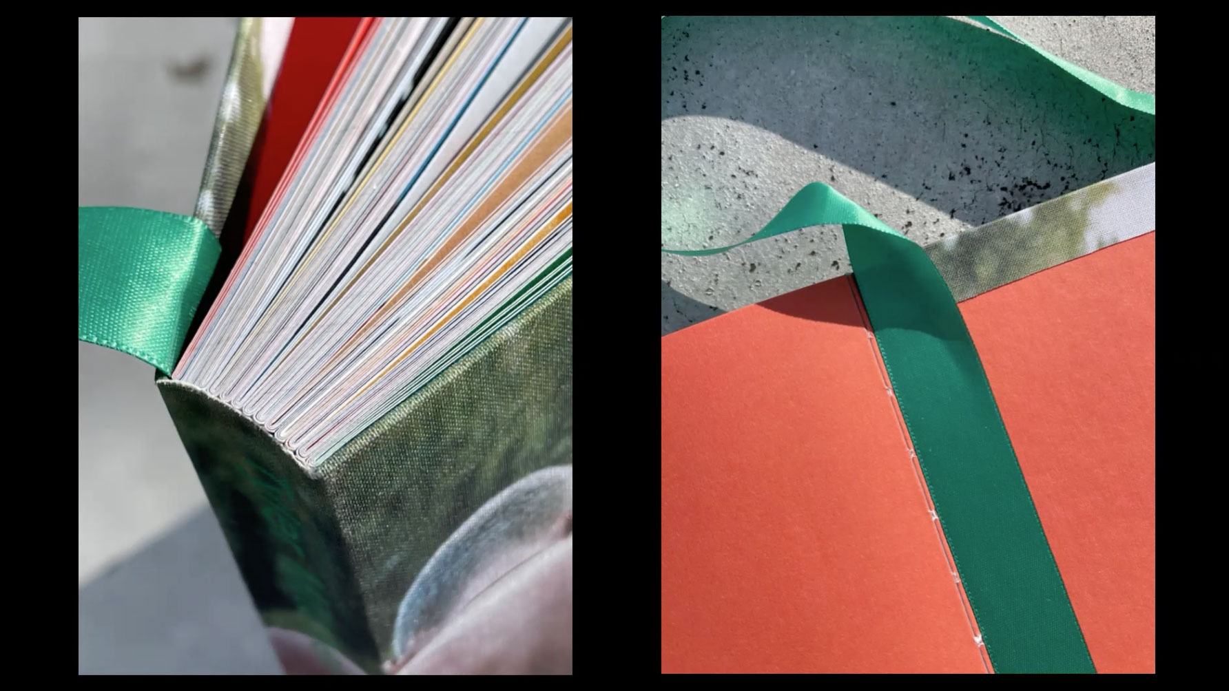 Book spine with green ribbon