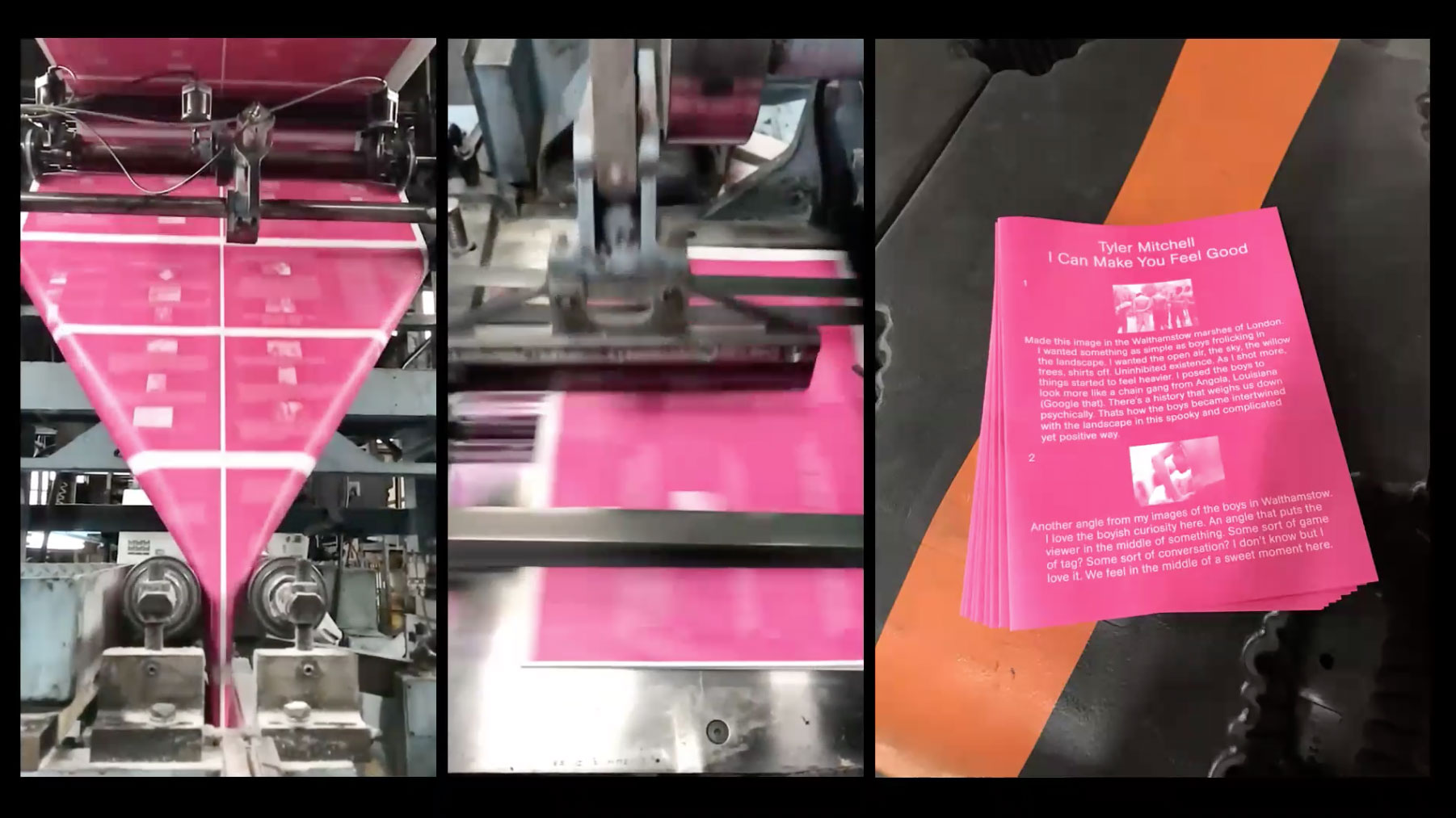 Printing press with pink posters