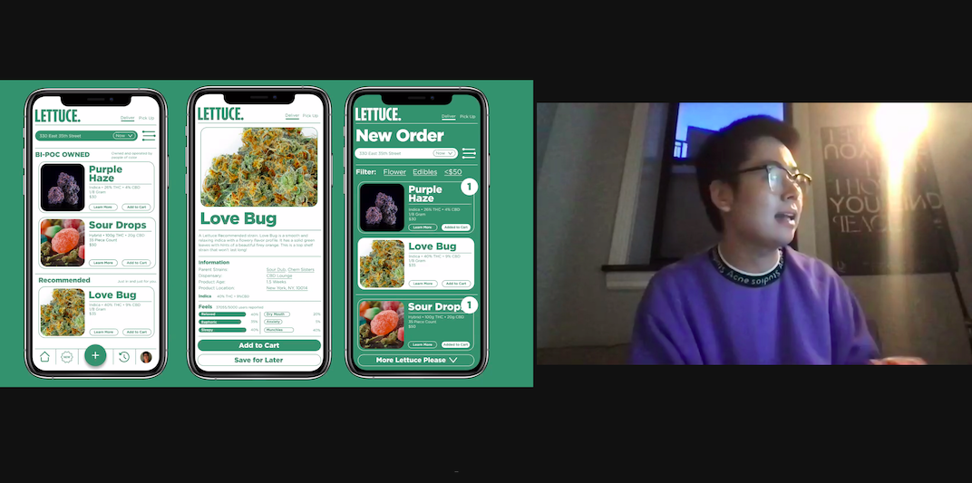 zoom screenshot with Ezra Lee on the right and black and green graphics on left
