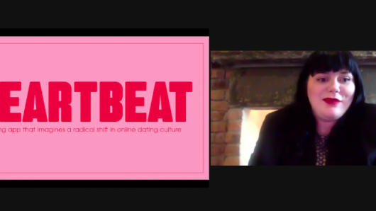 zoom screenshot with Julia Hummel on the right and pink and red graphics on left