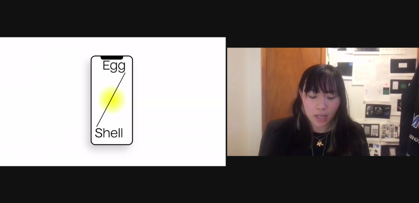 zoom screenshot with Bingbing Zhang on the right and white, black and yellow graphics on left