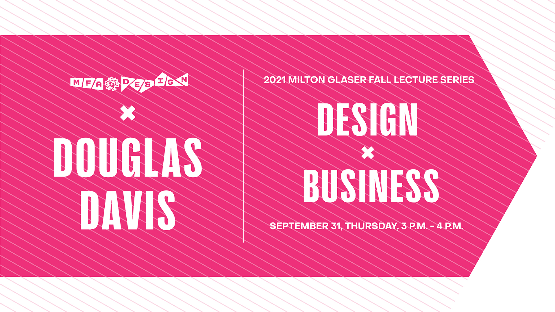 pink poster for lecture with Douglas Davis