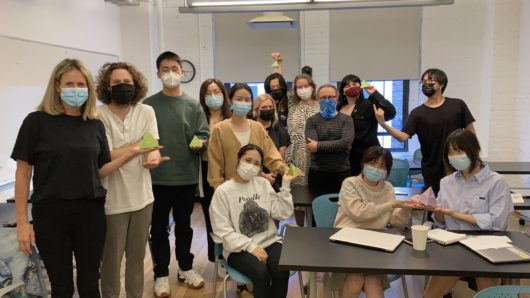 Ken Carbone and MFA Design class of 2022 in classroom