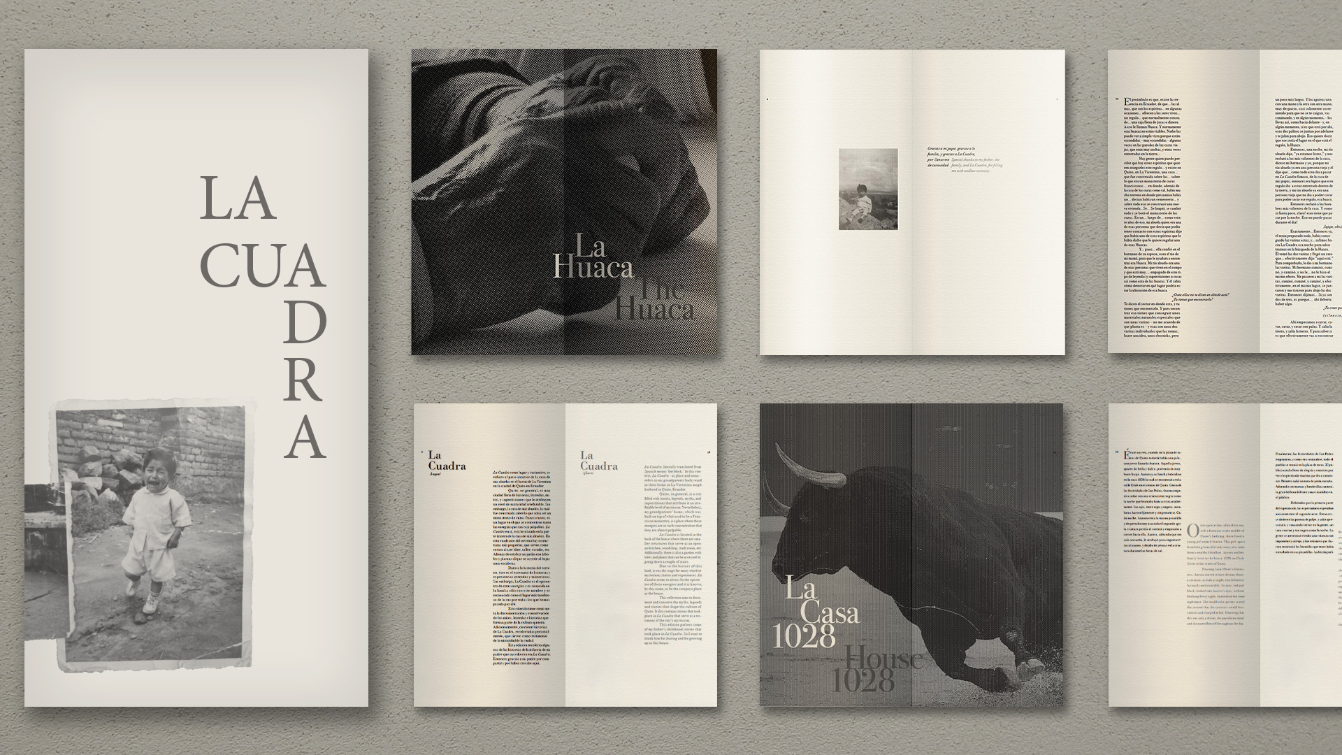 Black and white book cover and spreads