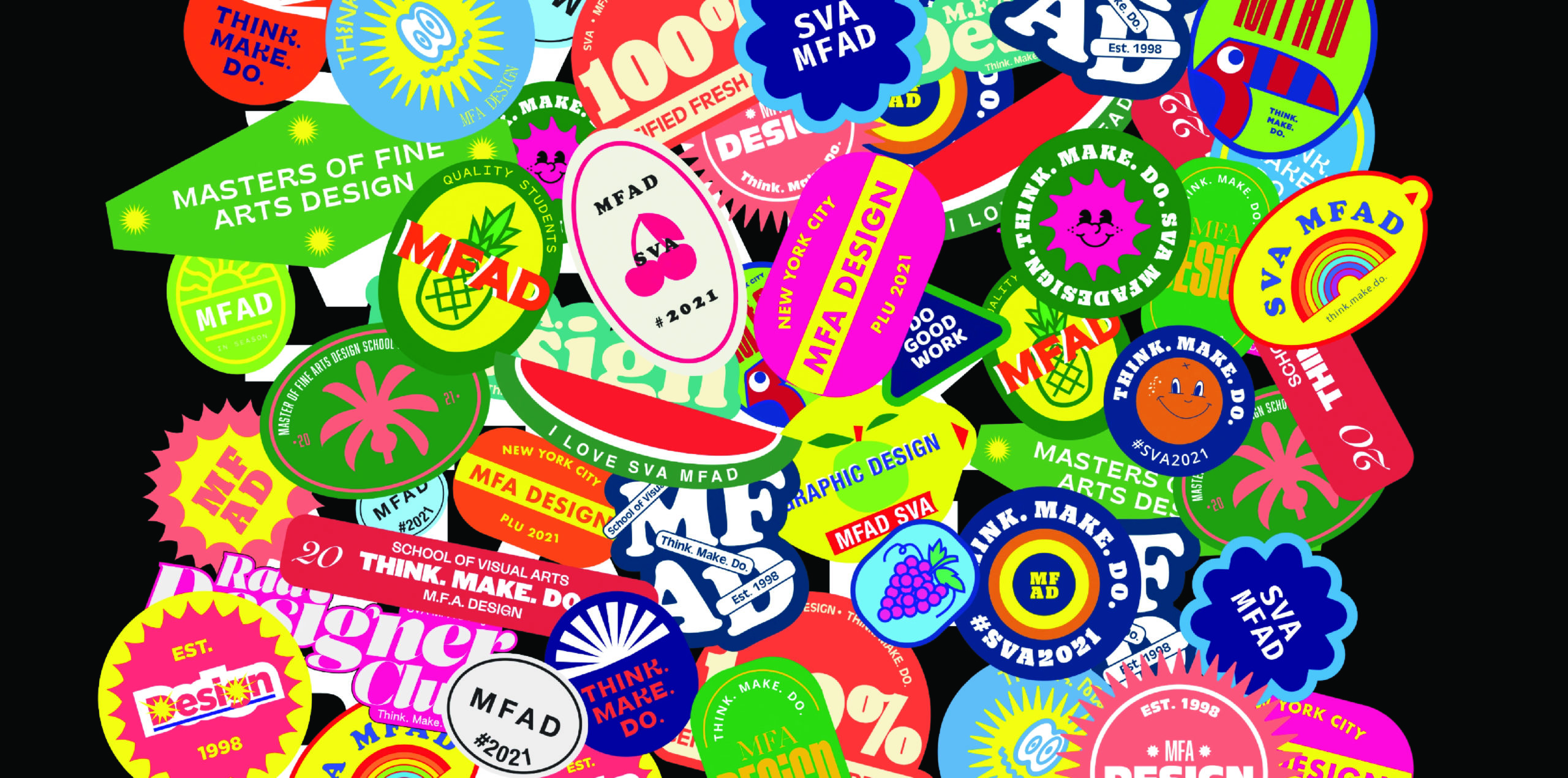 Colorful stickers with design messaging